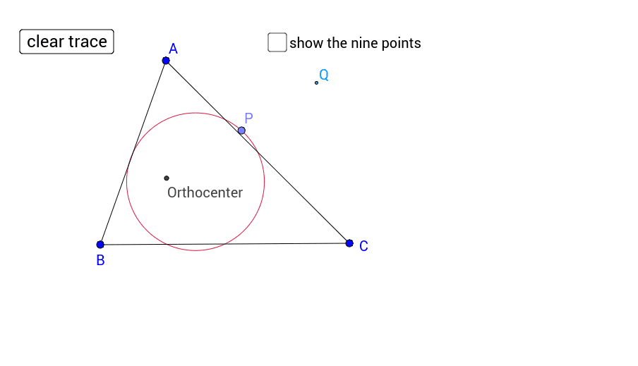 Move point P to see what happens when you reflect the orthocenter through the points on the nine point circle.   Press Enter to start activity