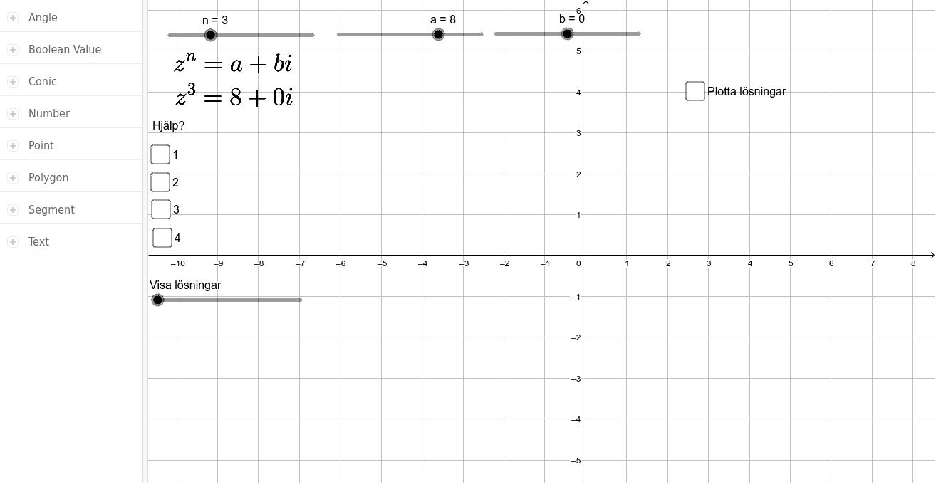 Dra i glidarna för n, a och b för att skapa ny ekvation. Lös sedan ekvationen. Sitter du fast kan du klicka i knapparna hjälp? När du är klar, klicka i plotta lösningar. Press Enter to start activity