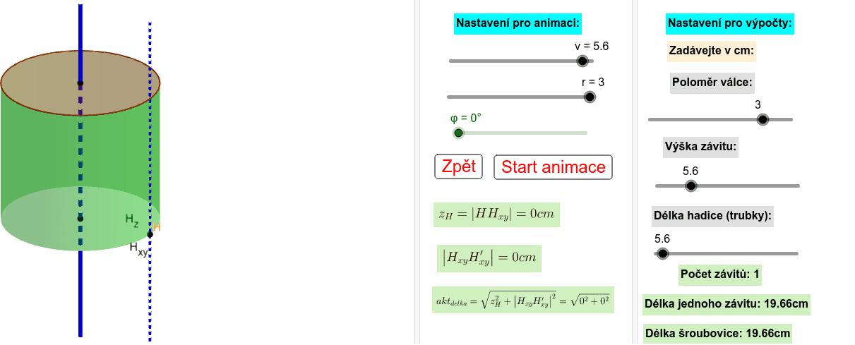 K výpočtu délky šroubovice Zahajte aktivitu stisknutím klávesy Enter