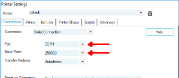 Find the port and baud rate