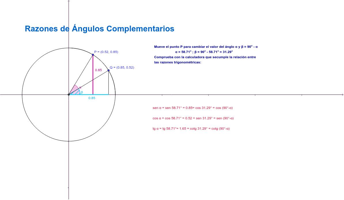 ¿Qué tienen de especial las razones trigonométricas de ángulos complementarios? Podemos observar en la aplicación que siempre se cumple la siguiente relación: Presiona Intro para comenzar la actividad