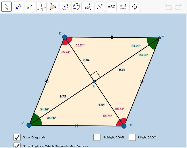 Rhombus Investigation 1 Press Enter to start activity