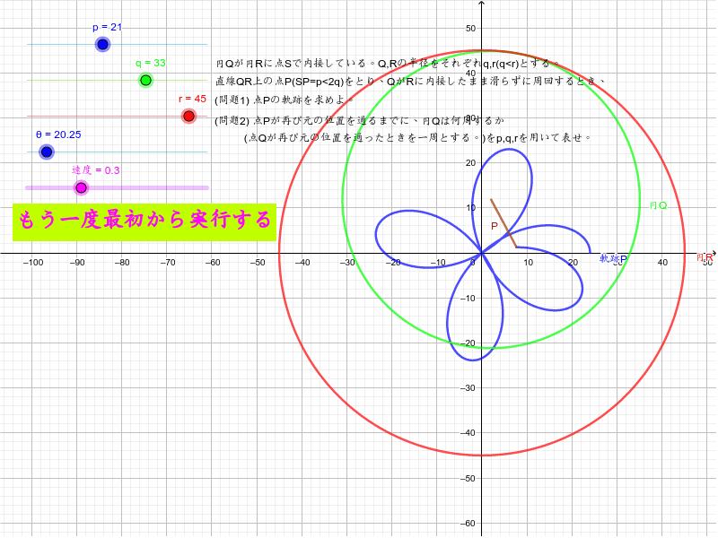 軌跡(ぐるぐる定規)Spirograph 全機能版 ワークシートを始めるにはEnter キーを押してください。