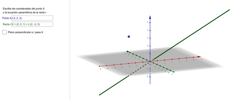 Introduce las coordenadas del punto A y la ecuación paramétrica de la recta r. Para poder calcular la distancia entre ellos, calcularemos un plano perpendicular a la recta r que pase por A. Seguidamente hallaremos la intersección de ese plano con la recta Presiona Intro para comenzar la actividad