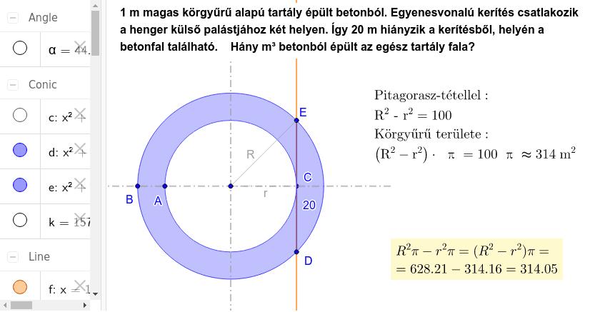 A  és  B  pont mozgatásával a sugarak állíthatóak. (De  DE  szakasz 20 legyen!) Press Enter to start activity