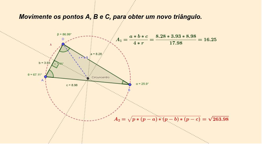 CONSTRUÇÃO 6: Área do triângulo inscrito na circunferência. Press Enter to start activity