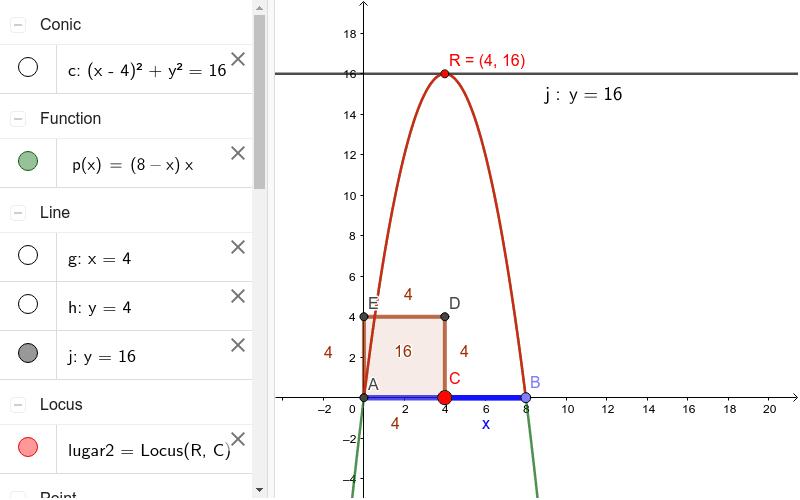"""A partir de las condiciones dadas, al mover C se estable cuando el área del paralelogramo es máxima ... La recta tangente """"j"""" en el punto R, hace que el área del paralelogramo sea máximo, a medida que C es desplazo Presiona Intro para comenzar la actividad"""