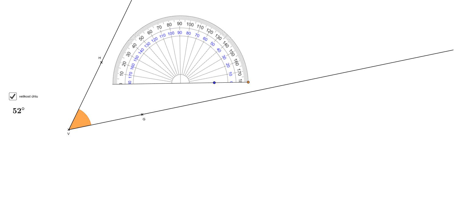 Pomocí bodů G, V, H nastavíte libovolný úhel, který změříte úhloměrem. Úhloměrem lze pohybovat pomocí modrého puntíku a otáčet jím pomocí oranžového puntíku. Po zaškrtnutí políčka velikost úhlu se zobrazí velikost úhlu. Zahajte aktivitu stisknutím klávesy Enter