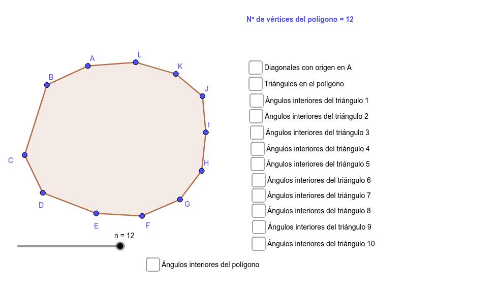 Si mueves el deslizador n, puedes cambiar el número de vértices del polígono Presiona Intro para comenzar la actividad