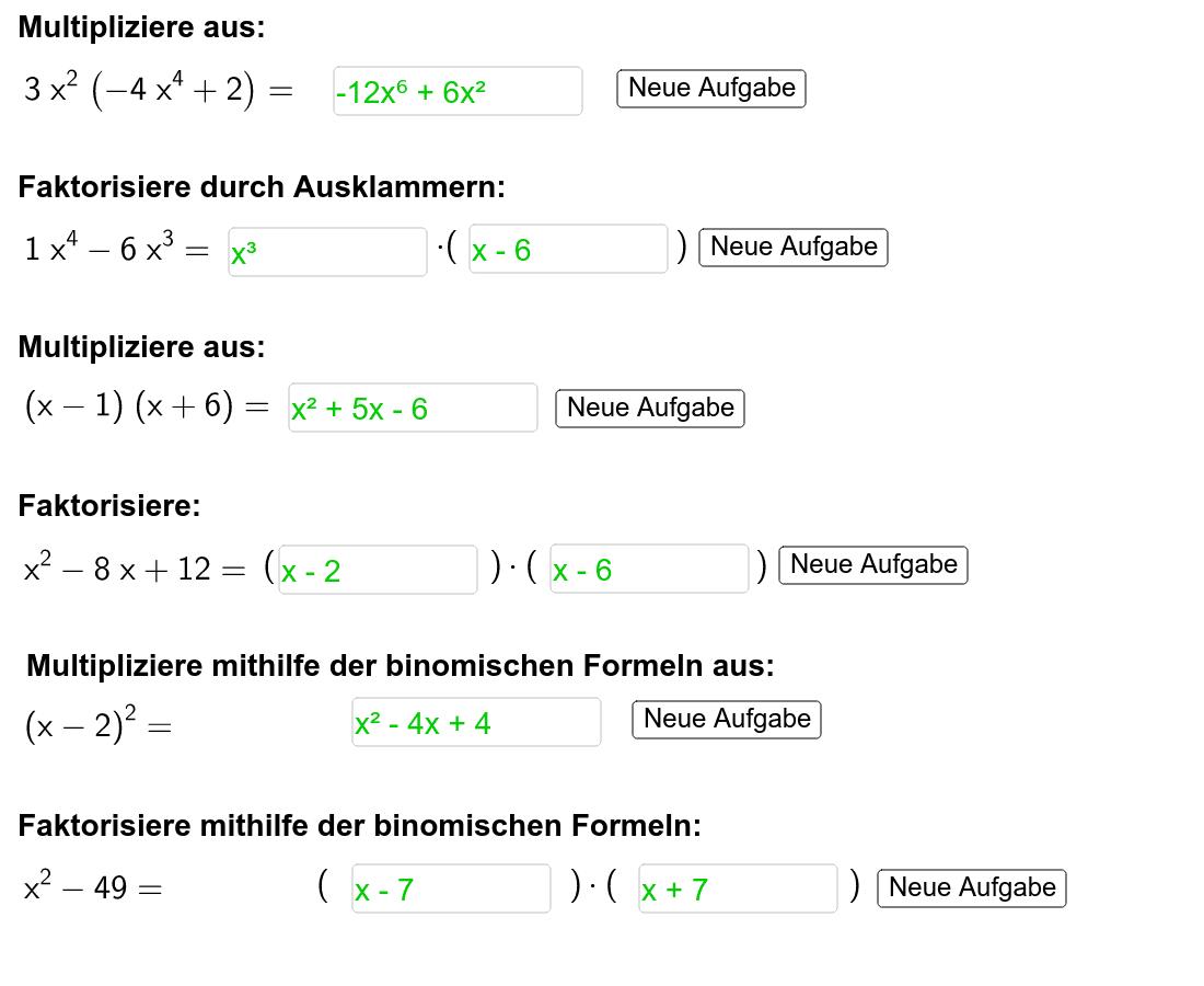 """Übe mit den zufallsgenerierten Aufgaben! """"x hoch 2"""" kannst du mit """"x^2"""" eingeben. Drücke die Eingabetaste um die Aktivität zu starten"""