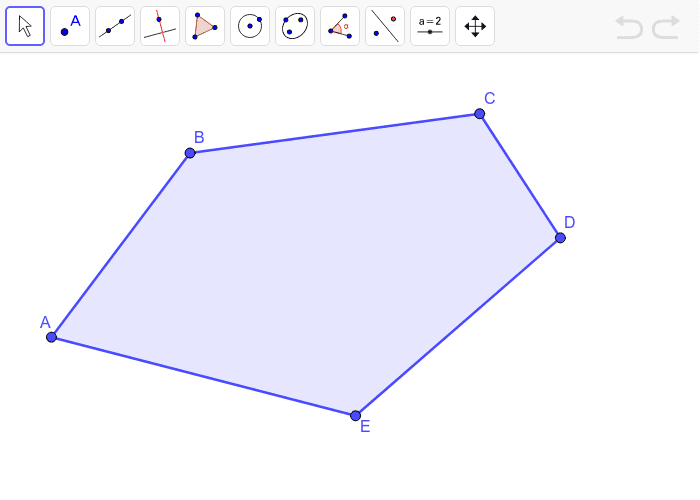 This is a polygon with FIVE sides. Start at vertex C, use the line segment feature to draw as many triangles as you can that are attached to the other vertices of the polygon. Press Enter to start activity
