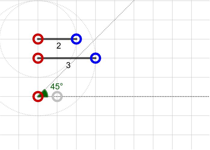 과제4. 두 변의 길이가 2, 3이고 3인 변의 대각의 크기가 45º인 삼각형(SSA) 활동을 시작하려면 엔터키를 누르세요.