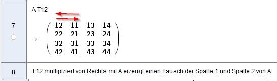 [size=100]Anwenden der Tauschmatrix T12 zum Spaltentausch[/size]