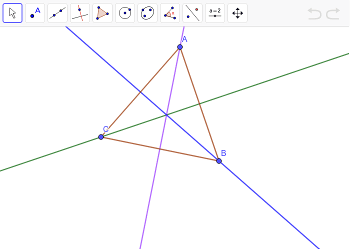 The angle bisectors for each angle of triangle ABC is given. Move the vertices to make different triangles. Press Enter to start activity