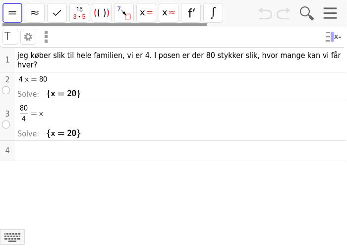 regnehistorier som ligninger, skriv gerne flere muligheder hvis du kan! Tryk Enter for at starte aktiviteten