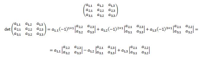 Laplace de la matriz de dimensión 3x3 por la fila 1[b] [/b]