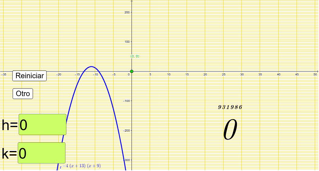 Determina las coordenadas del vertice de la parabola mostrada en el grafico (previo analisis) Presiona Intro para comenzar la actividad