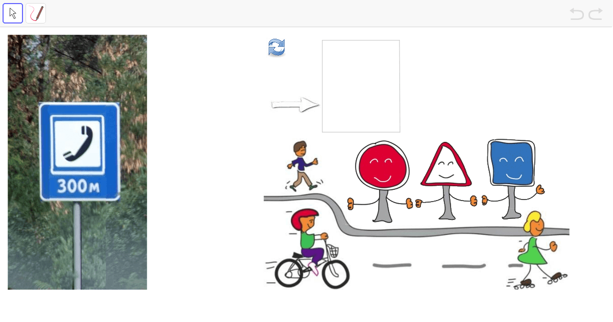 Para cerrar, clasifiquemos las señales de nuestras fotos según los dibujos del vídeo. Presiona Intro para comenzar la actividad