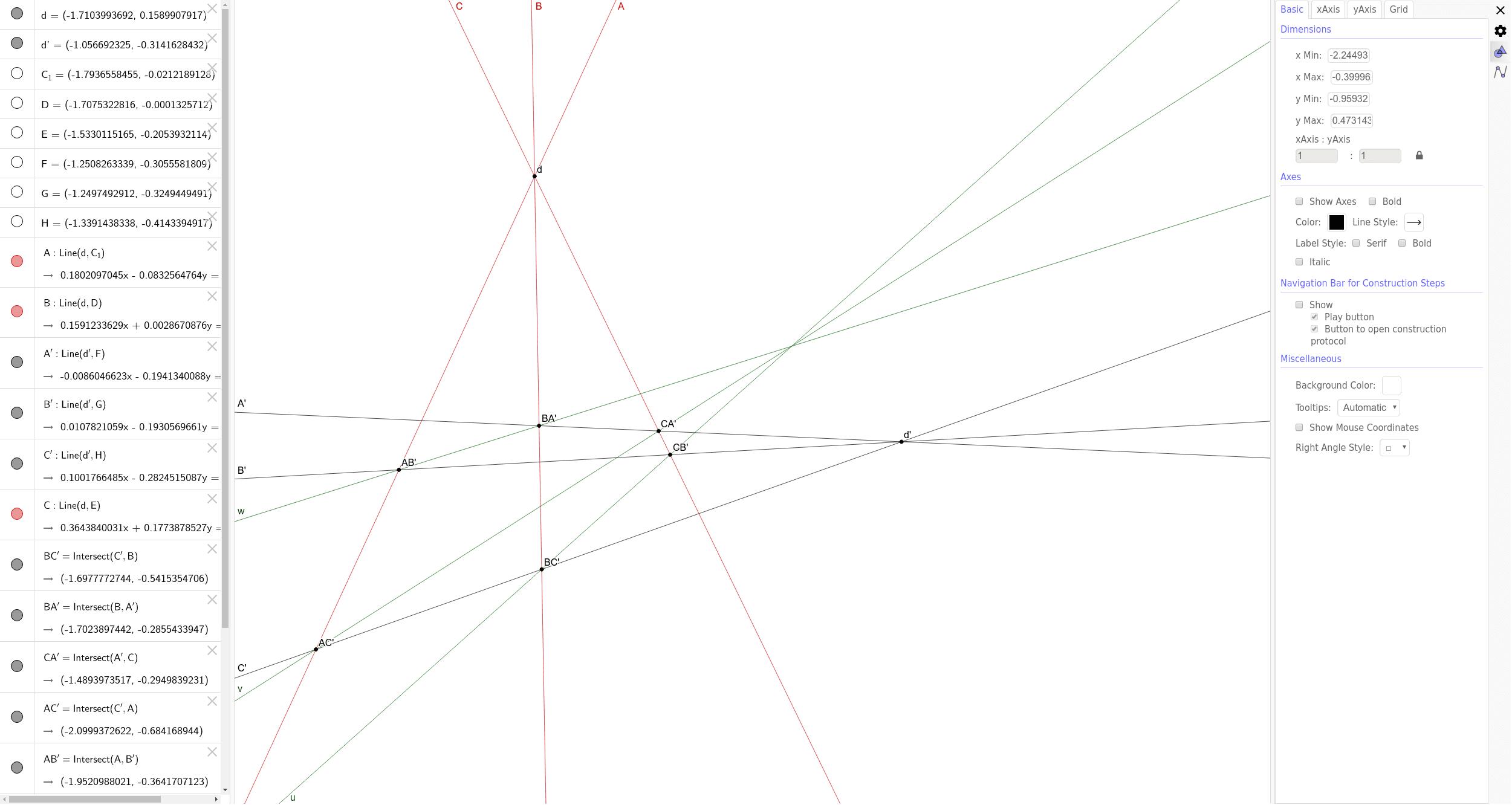 """Théorème de Brianchon (Cas dégénéré) est le dual du théorème de Pappus. Tapez """"Entrée"""" pour démarrer l'activité"""