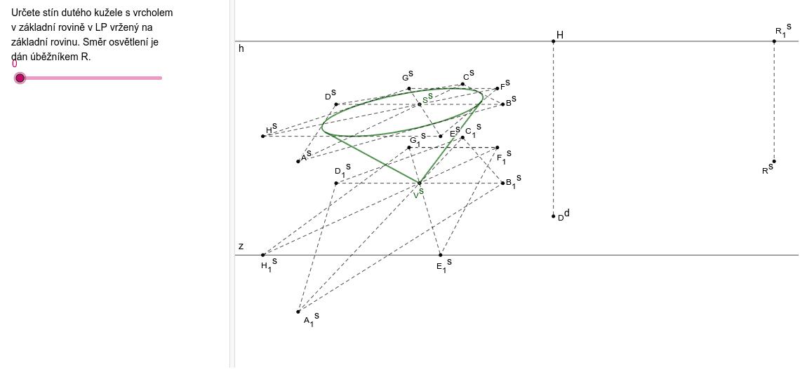 Stín rotačního kužele s vrcholem v základní rovině vržený do sebe Zahajte aktivitu stisknutím klávesy Enter