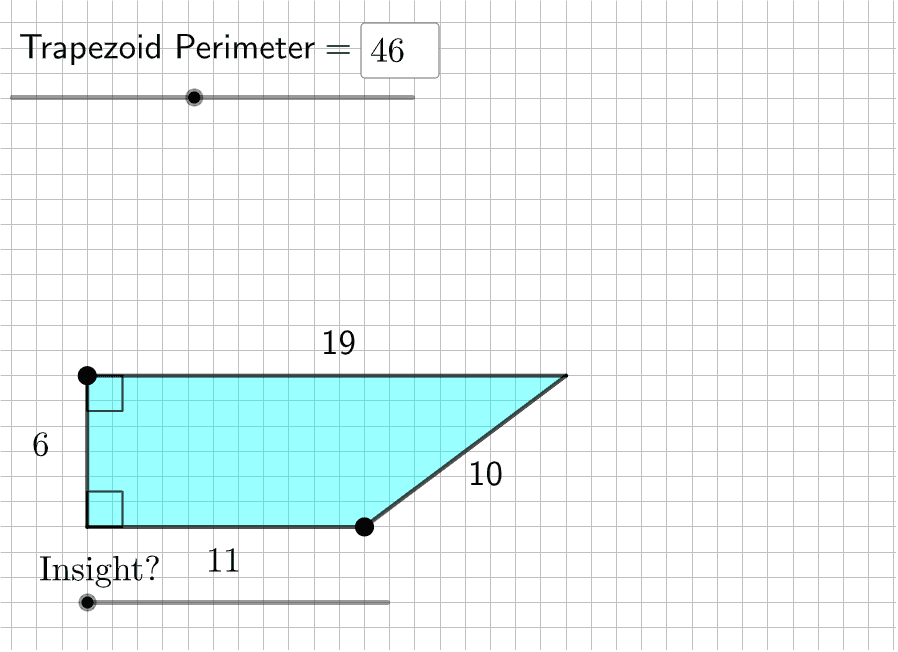 Here, you can set your own fixed perimeter before exploring.  Move the LARGE POINTS to create various trapezoids with the perimeter you set. If the trapezoid disappears, make it smaller so it reappears. Press Enter to start activity