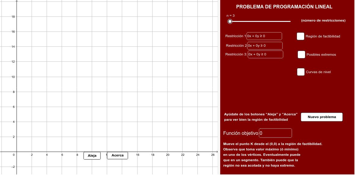 "Con este applet podrás resolver gráficamente prácticamente todos los problemas de programación lineal Tapez ""Entrée"" pour démarrer l'activité"