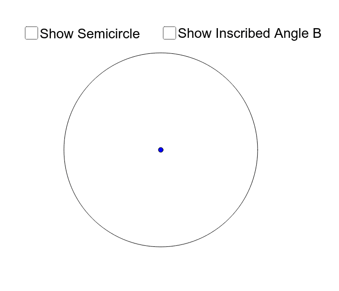 Move points A and B to explore the relationship between a semicircle and any inscribed angle within it. Press Enter to start activity