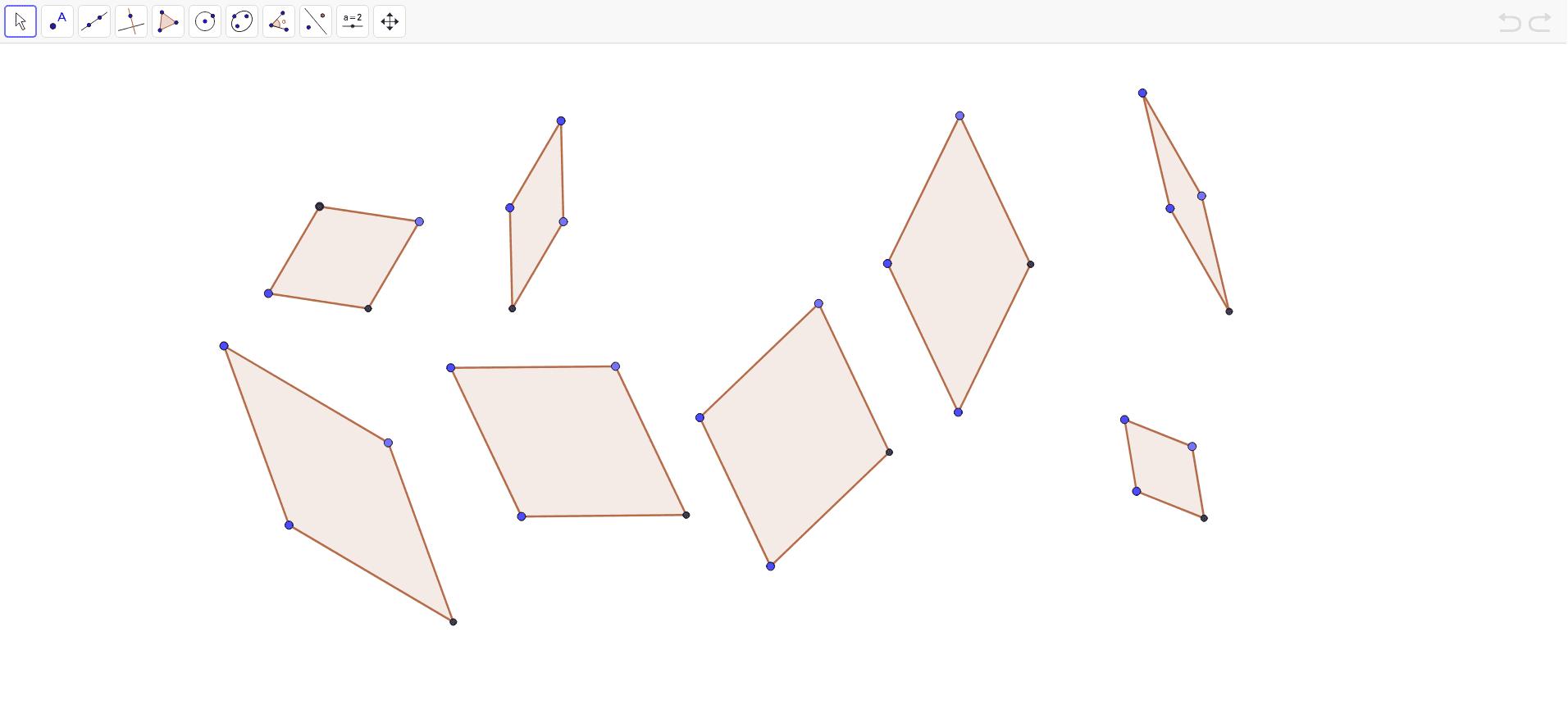 En la ventana gráfica puedes ver construidos y dibujados varios rombos. Puedes moverlos y dinamizarlos.  Presiona Intro para comenzar la actividad