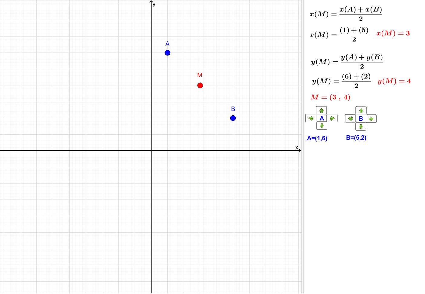 Mova os pontos A e B com o mouse ou use os seletores. Press Enter to start activity