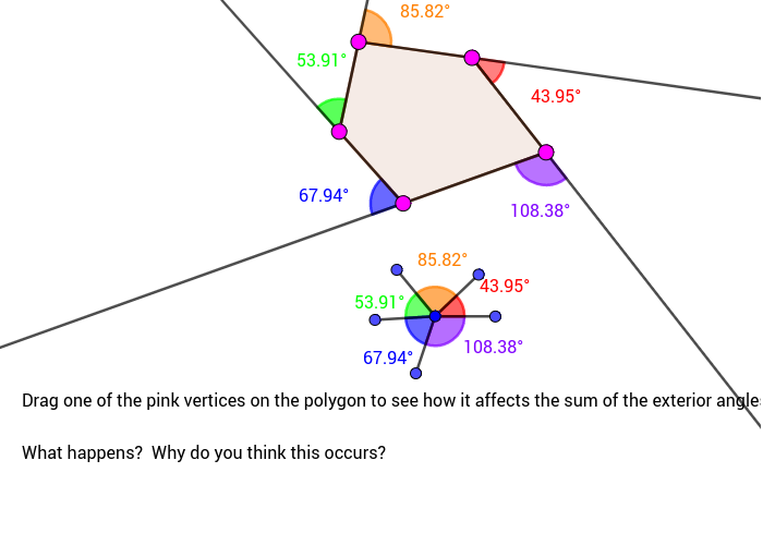 Justify why the sum the exterior angles of any polygon (just 5 sides here) is equal to 360)?  Why might this be called the Sentry Theorem? Press Enter to start activity