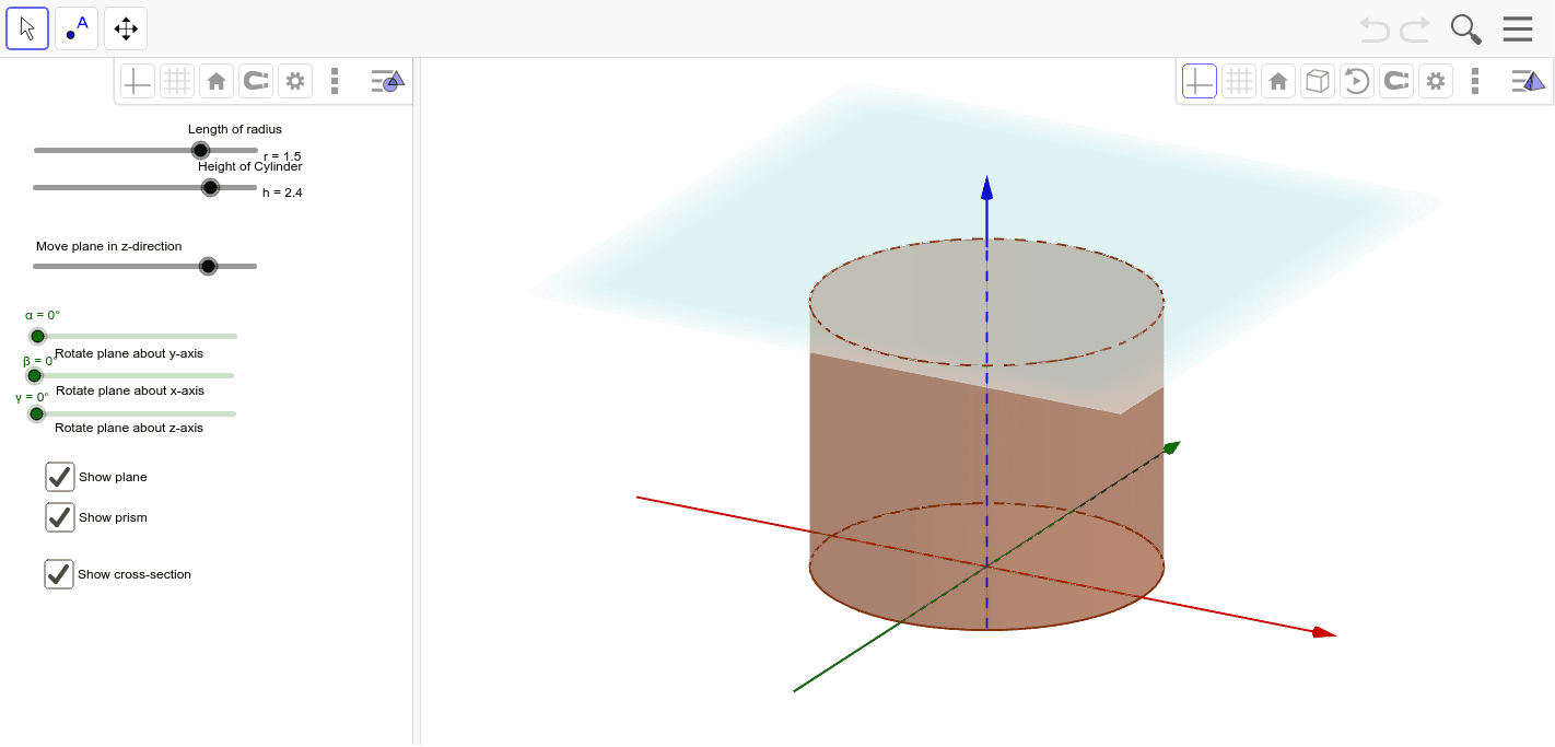 Cross Sections of Cylinders Press Enter to start activity