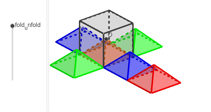 Construct Pyramids under a given Cube and prove that volume of a pyramid is 1/3 the volume of cube. Press Enter to start activity
