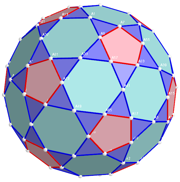 Five pointed Star and Star of David inscribed in a Rectified Truncated Icosahedron.