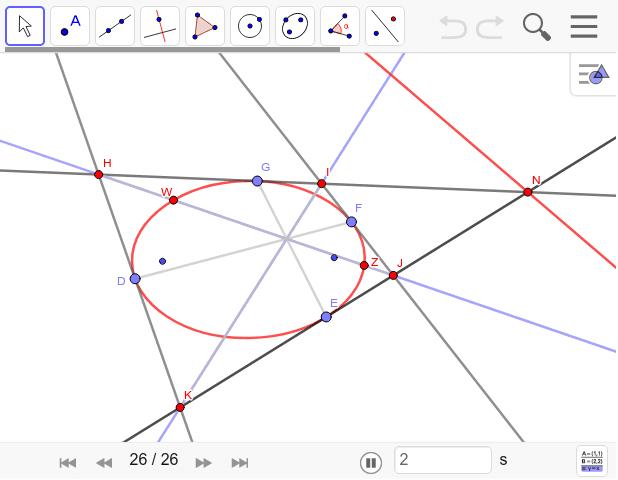 向かい合う接点を結んだ線と対角線は一点で交わる。この交点が極となります。 ワークシートを始めるにはEnter キーを押してください。