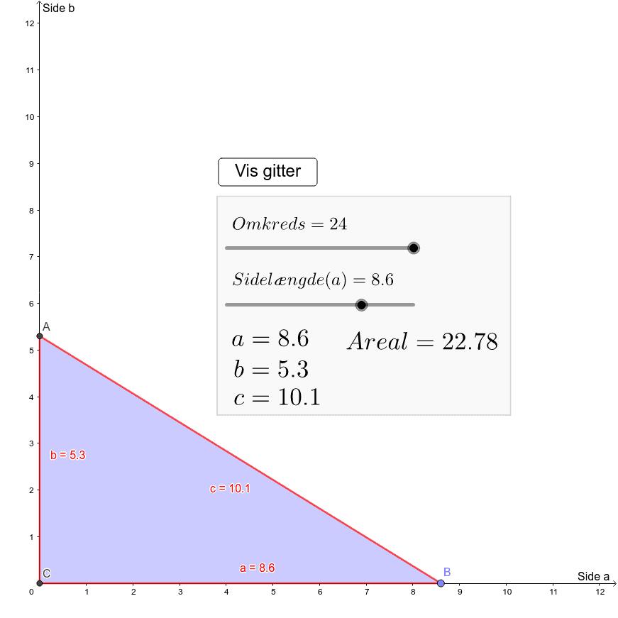Retvinklet trekant med fast omkreds Press Enter to start activity