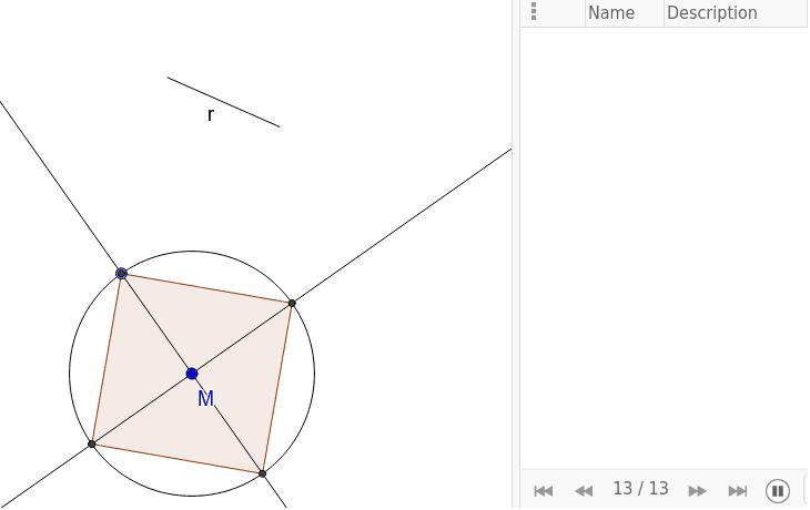 Konstruiere ein Quadrat mit Umkreisradius r. Drücke die Eingabetaste um die Aktivität zu starten
