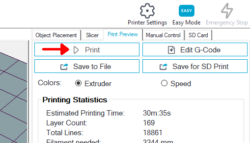 After slicing, you can print the 3D model, save the GCODE to your computer or save the GCODE to an SD card.