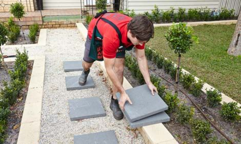 How do you lay stepping stones?