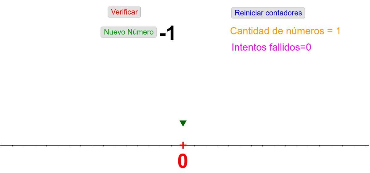 A continuación te propongo ubicar números enteros en la recta numérica. El número a ubicar es el que se encuentra de color negro.  Para realizar la tarea posicioná la flecha verde sobre el lugar correspondiente en la recta y verifica.  Presiona Intro para comenzar la actividad