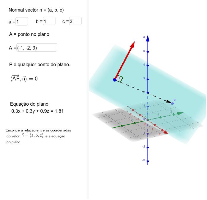 Relação entre equação cartesiana do plano e vetor normal ao plano. Press Enter to start activity