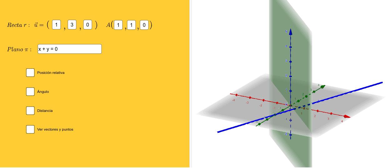 Introduce el vector y el punto de la recta y la ecuación del plano. Presiona Intro para comenzar la actividad