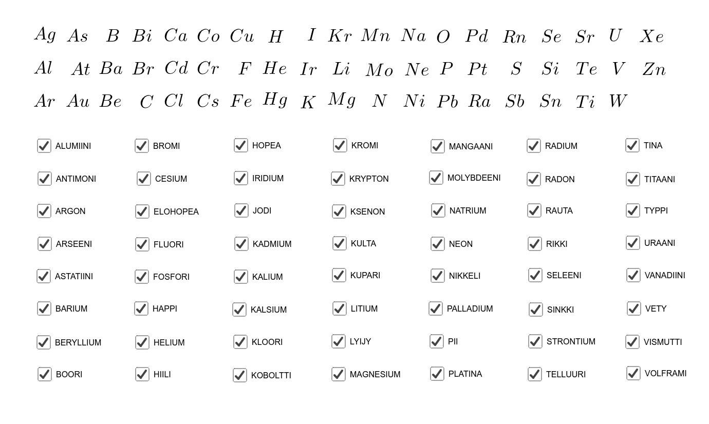 Siirrä kemiallinen merkki alkuaineen nimen viereen ja poista rasti Paina Enter aloittaaksesi