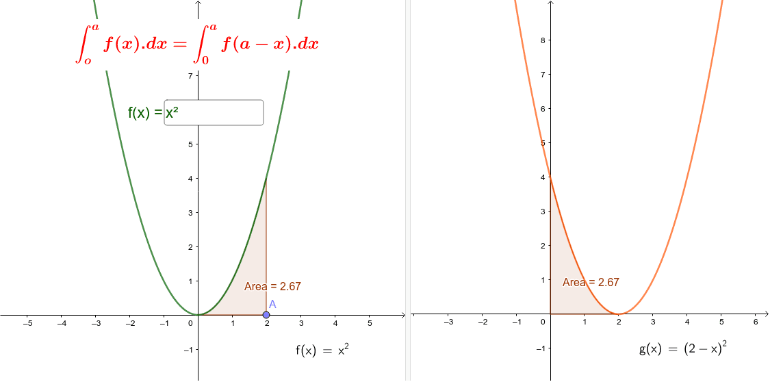Integral of f(x) = Integral of f(a-x) Demonstration Press Enter to start activity