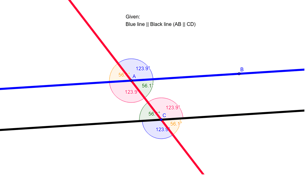 Now, what happens as I adjust the position of the parallel lines and the transversal. Press Enter to start activity