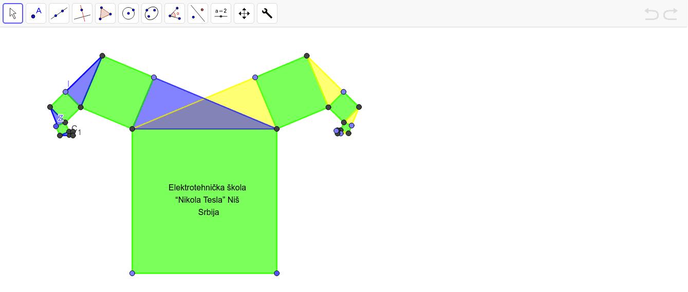 Ovaj resurs je modifikovano Pitagorino drvo, na levu i desnu granu, sa pravouglim trouglovima. Press Enter to start activity