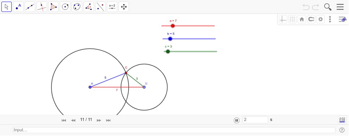 Şekil 37. Üçgen Eşitsizliği Geometrik Etkinliği başlatmak için Enter'a basın
