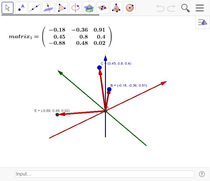 Bを動かすと実数係数のO(3)が求まる。これらの行列式は必ず1になる。 ワークシートを始めるにはEnter キーを押してください。