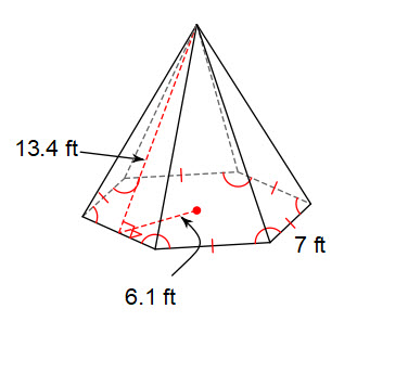 Figure 4. Find the Volume of the Regular Hexagonal Pyramid. Remember to calculate the area of a regular polygon using the formula A = 1/2aP. This problem is challenging!