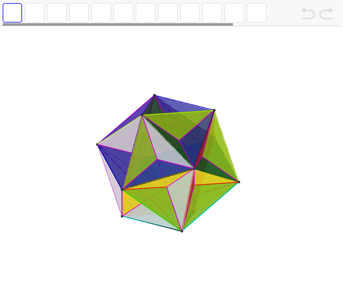 正20面体の中の正五角形から作成。星型多面体。 ワークシートを始めるにはEnter キーを押してください。