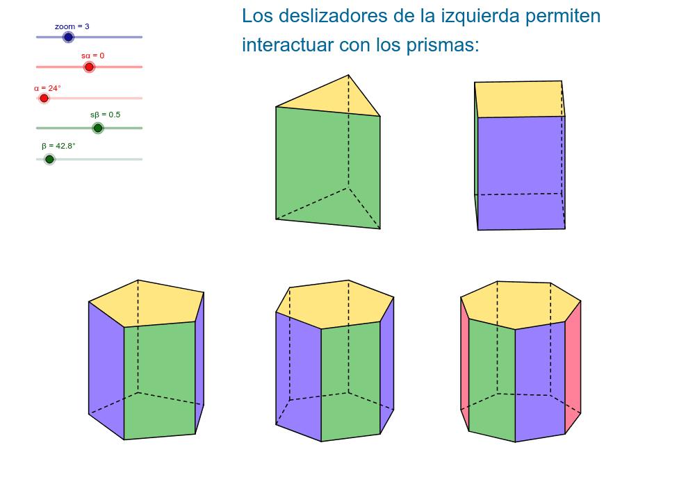 Moviendo los deslizdores se obtienen distintas vistas y tamaños de los prismas Presiona Intro para comenzar la actividad